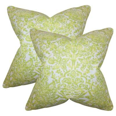 Kenzo Floral Cotton Throw Pillow Color: Green