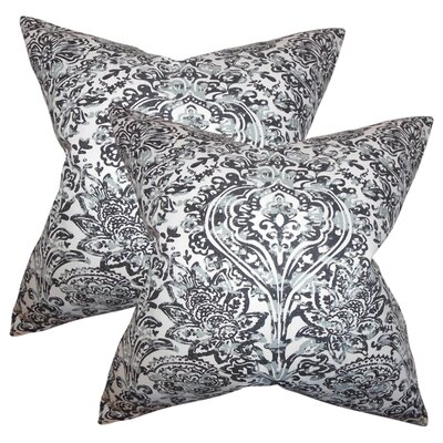 Kenzo Floral Cotton Throw Pillow Color: Gray