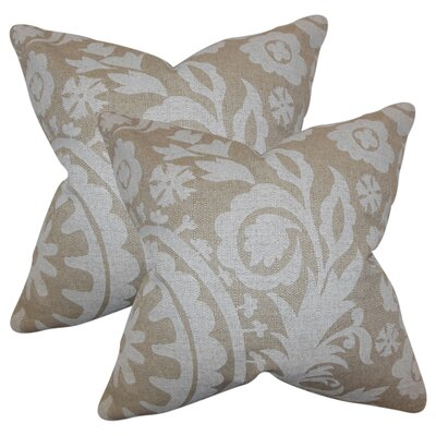 Stukes Floral Cotton Throw Pillow Color: Tan