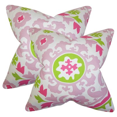 Stukes Floral Cotton Throw Pillow Color: Pink