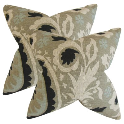 Stukes Floral Cotton Throw Pillow Color: Black