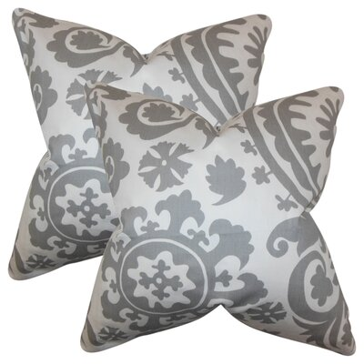Stukes Floral Cotton Throw Pillow Color: Light  Gray
