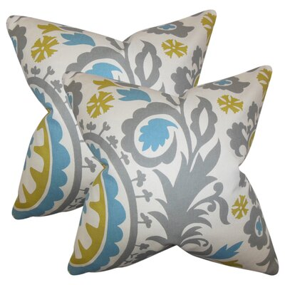 Stukes Floral Cotton Throw Pillow Color: Sky Blue/Green