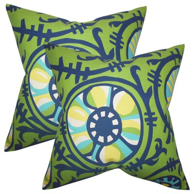 Wickson Modern Geometric Cotton Throw Pillow Color: Green