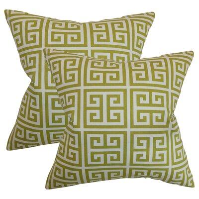 Yula Greek Key Cotton Throw Pillow Color: Green