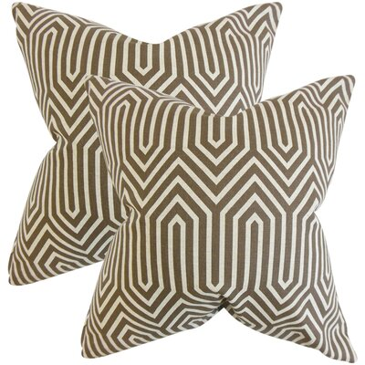 Stradley Geometric Throw Pillow Color: Brown