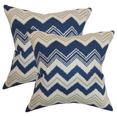 Aubrielle Zigzag Cotton Throw Pillow Color: Blue