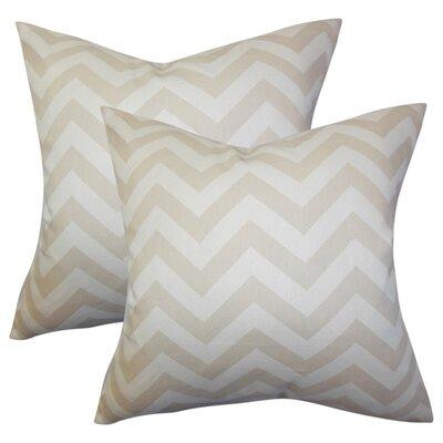 Creason Zigzag Cotton Throw Pillow Color: Tan