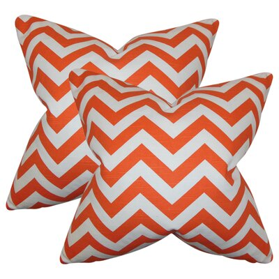 Sullivan Street Chevron Cotton Throw Pillow Color: Orange