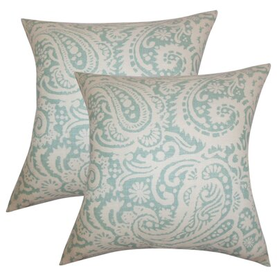 Hudepohl Paisley Throw Pillow Color: Aqua