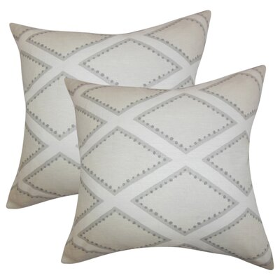 Agnese Geometric Linen Throw Pillow Color: Gray