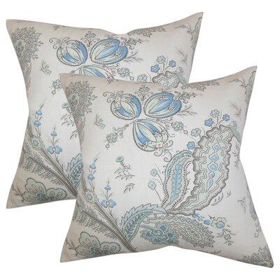 Alberto Floral Cotton Throw Pillow Color: Blue