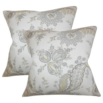 Alberto Floral Cotton Throw Pillow Color: White