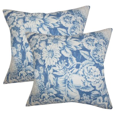 Amedeo Floral Linen Throw Pillow Color: Blue