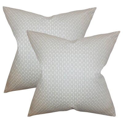 Recker Geometric Cotton Throw Pillow Color: Oyster