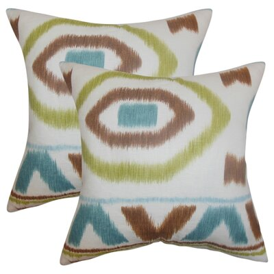 Galasso Geometric Cotton Throw Pillow Color: Green