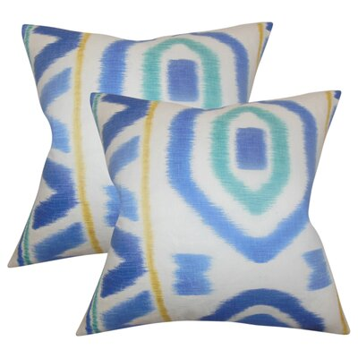 Moen Geometric Cotton Throw Pillow Color: Blue