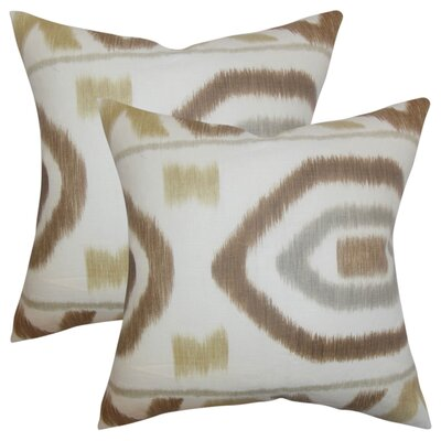 Galasso Geometric Cotton Throw Pillow Color: Brown