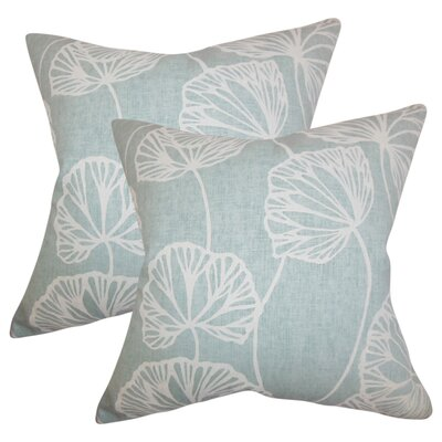 Conti Floral Cotton Throw Pillow Color: Blue