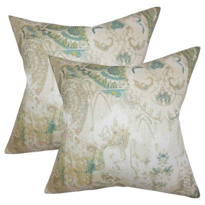 Brookview Floral Linen Throw Pillow Color: Tan