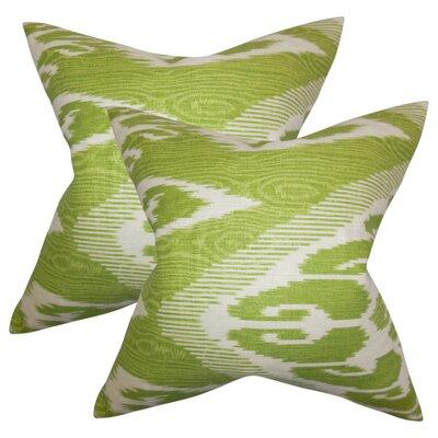 Platz Ikat Linen Throw Pillow Color: Green