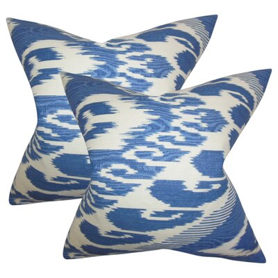 Platz Ikat Linen Throw Pillow Color: Blue