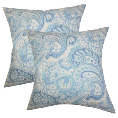 Dolbeau Floral Cotton Throw Pillow Color: Blue