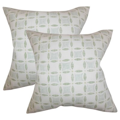 Demi Geometric Linen Throw Pillow Color: Green