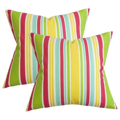 Legault Stripe Cotton Throw Pillow Color: Pink