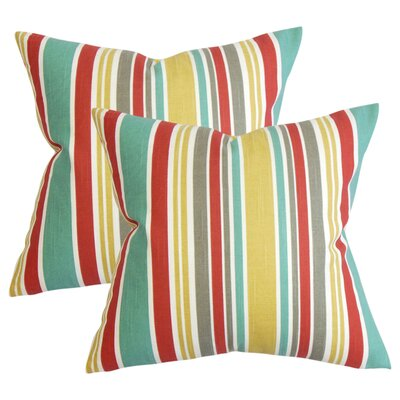 Legault Stripe Cotton Throw Pillow Color: Red