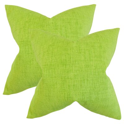 Helton Solid Throw Pillow Color: Lime