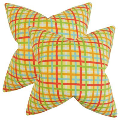 Poulos Plaid Throw Pillow Color: Yellow