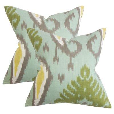Printers Row Ikat Cotton Throw Pillow Color: Aquamarine