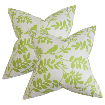 Jenni Floral Cotton Throw Pillow Color: Green