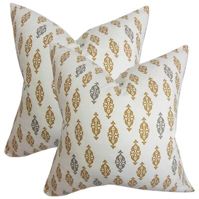 Armandale Geometric Cotton Throw Pillow Color: Brown
