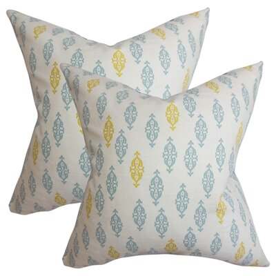 Armandale Geometric Cotton Throw Pillow Color: Blue