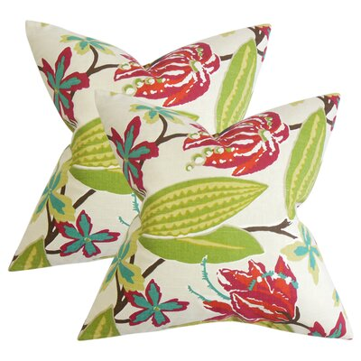 Behdad Floral Cotton Throw Pillow Color: Green