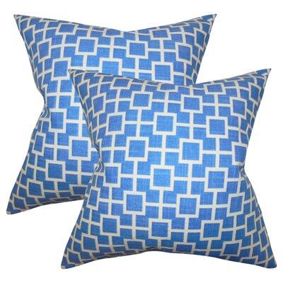 Rezendes Geometric Cotton Throw Pillow Color: Blue
