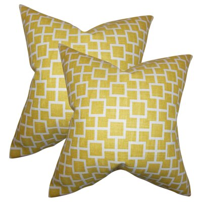 Rezendes Geometric Cotton Throw Pillow Color: Yellow