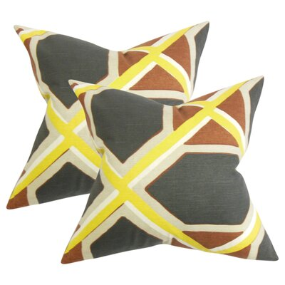 Wiltse Geometric Linen Throw Pillow Color: Black