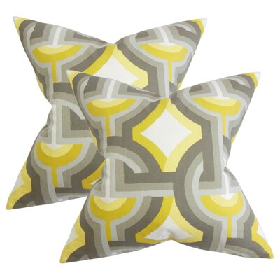 Randle Geometric Cotton Throw Pillow Color: Gray/Yellow