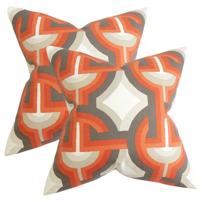 Randle Geometric Cotton Throw Pillow Color: Orange