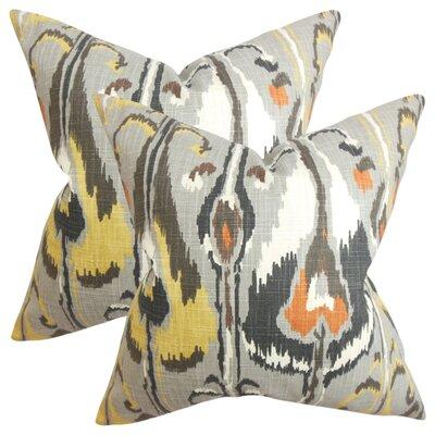 Wingfield Ikat Cotton Throw Pillow Color: Gray