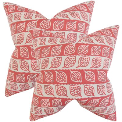 Graysen Foliage Throw Pillow Color: Red