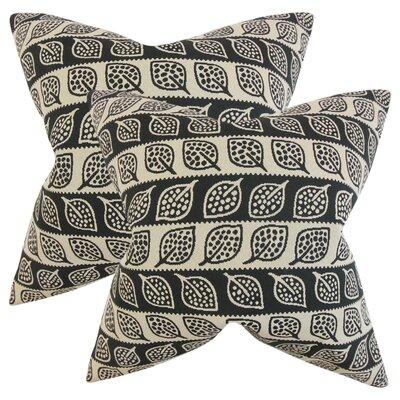Graysen Foliage Throw Pillow Color: Black