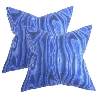 Strachan Geometric Cotton Throw Pillow Color: Blue