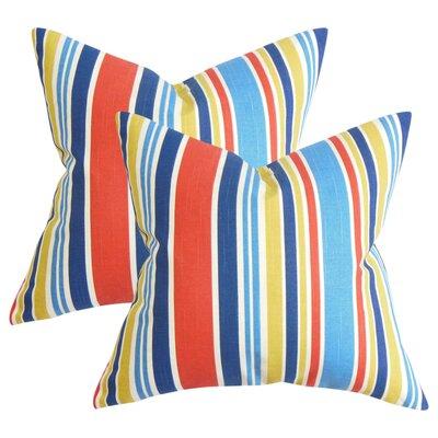 Frances Stripe Cotton Throw Pillow Color: Red