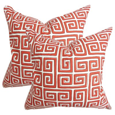 Wendy Geometric Cotton Throw Pillow Color: Red