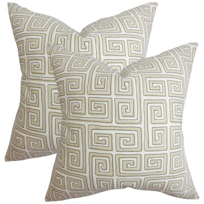 Wendy Geometric Cotton Throw Pillow Color: Tan