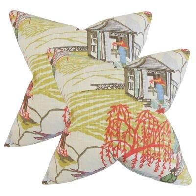 Whitlam Cotton Throw Pillow Color: Green